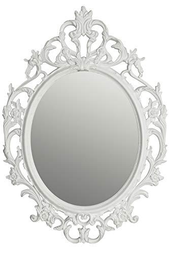 elbmöbel Wandspiegel Barockspiegel Oval weiß 84x58x4 cm