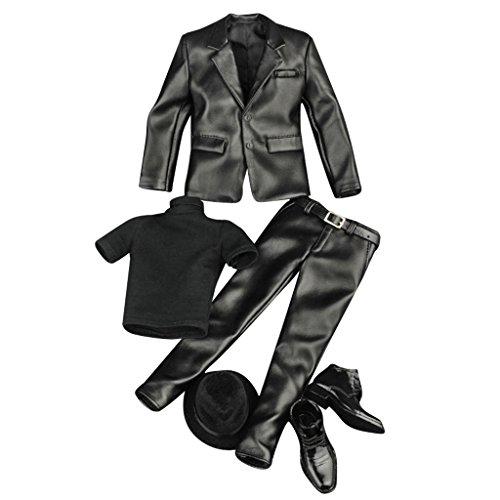 Körper Kostüm Anzug Soldat - sharprepublic 1/6 Scale Action Figure Doll Outfits, Faux Leather Suit for Hot Toys, Sideshow 12 Inch Male Body Model