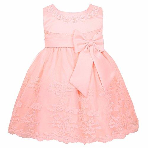 iiniim Baby Mädchen Prinzessin Kleid Blumenmädchenkleid Taufkleid Festlich Kleid Hochzeit Partykleid Festzug Babybekleidung Gr. 68-92 Perle Rosa 86-92/18-24 Monate