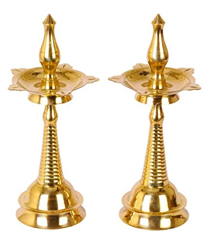 SWS Glossy Brass Diya - Set of 2 Set(Height: 10 inch, Pack of 2)