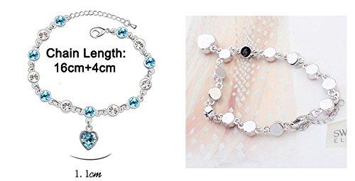 Murtoo Bracelet avec petit breloque Coeur en Cristal Swarovski Element NEUF LIVRAISON GRATUITE Couleur Pour Couples Et Les Amoureux avec L'Affection Bleu aigue marine