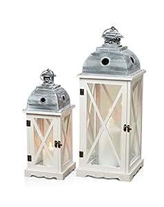 levandeo 2er set laternen aus holz metall und glas windlichter farbe wei. Black Bedroom Furniture Sets. Home Design Ideas
