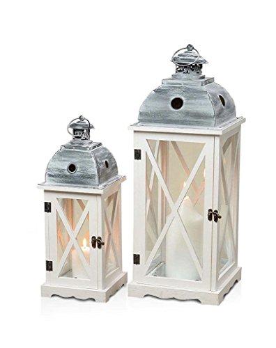 levandeo 2er Set Laternen aus Holz, Metall und Glas - Windlichter Farbe weiß - Tischlaternen Holzlaternen Gartenlaternen Shabby Chic Landhaus Dekoration