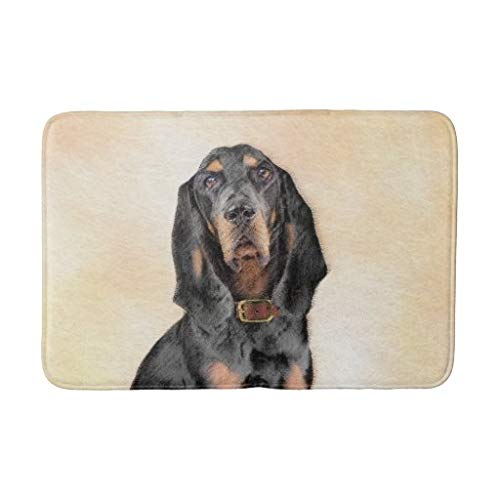 tian huan88 16×24 Inch Bath Mat, Black Tan Coonhound Painting Original Dog Art Bath Mat Machine-Washable Floor Mats for…