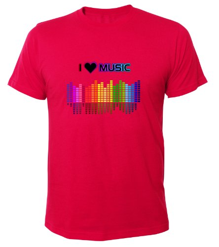 Mister Merchandise Cooles Fun T-Shirt I love Music Pink