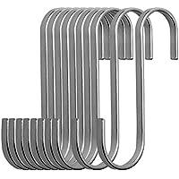 "nuosen 10 Pack Premium S Hanging Hooks, 3.2"" Hangers S Shaped Stainless Steel Heavy-Duty Hangers Pot Pan Hanger for Kitchen Bedroom and Office"