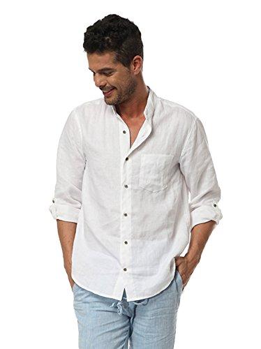 Insun Herren Hemd Brusttasche Casual Leinen Langarm Shirts Tops Freizeithemd Longshirts mit Holzknopfleiste Weiß