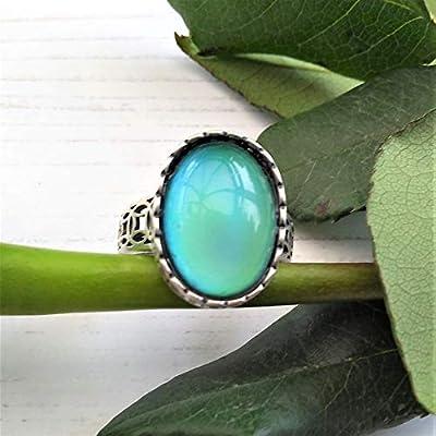 Bague d'humeur en argent sterling, taille ajustable, pierre de humeur ovale 18 mm x 13 mm, bague de changement de couleur