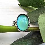 Anillo de ánimo de plata esterlina, tamaño ajustable, piedra de humor ovalada de 18 mm x 13 mm, anillo de cambio de color