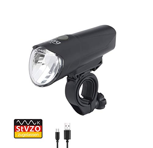 Dansi LED-Akkufrontleuchte, 60/30/15 Lux, StVZO zugelassen, schwarz, 44012