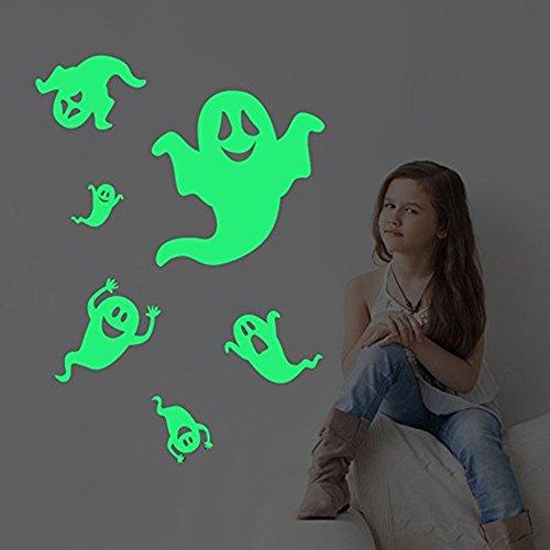 Missley Sechs schüchterne Geister-Wandabziehbilder Halloween-Dekorationen Glühen in den dunklen spooky Wand-Aufkleber für Halloween-Partei scherzt Hauptzimmer-Dekor (Geist Stick Ideen)