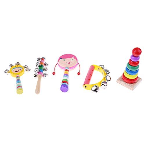 Phenovo Orff Colorful Percussion Musical Instrument Children Early Music Learning - 5pcs, as described