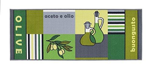Küchenläufer Buongusto, rutschfest & waschbar, schadstoffgeprüfter Küchenteppich in div. Motiven, Farbe:Olive;Größe:57x180cm