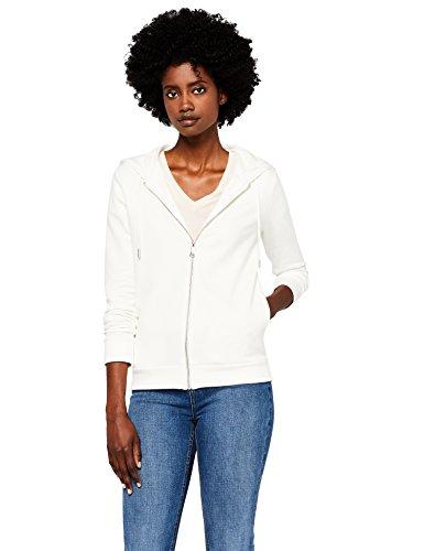 MERAKI Damen Hoody mit Reißverschluss, Weiß (White), Large