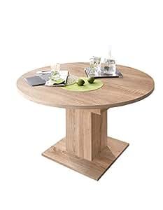 0588 Table ronde/120 cm en imitation chêne brut de sciage zIP speisezimmer table de salle à manger extensible jusqu'à 160 cm