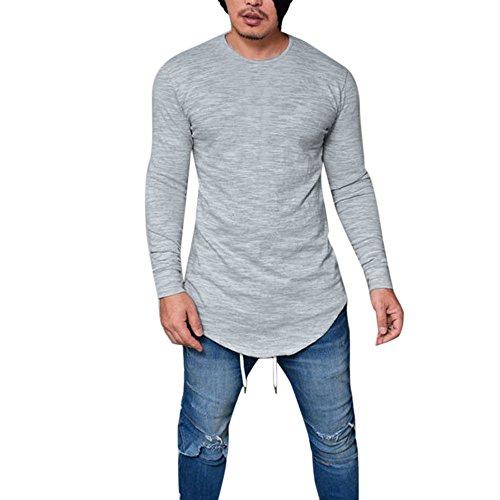 Langarmshirt Herren, Sunday Männer Slim Fit O-Ausschnitt Langarm Muscle T-Shirt Casual Tops Bluse täglichen Frühling Solid Casual O Hals Shirt (XXXL, Grau) (Tee Solides Muscle)