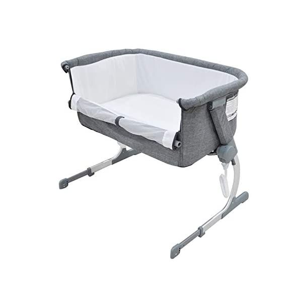 Bedside Crib Grey 5 Gear Mode 87 X 48 X 59cm Alloy Steel for 0-12 Months Baby WZX Unzip the side panel and connect fastening straps to transform from a crib to a bedside crib allowing you to keep close to your baby at night! Height adjustable fame to sit comfortably along any bedframe and a lightweight design makes it perfect for use in almost any room in your home. The ease of attachment and assembly, plus the removable and washable lining make life easy, making the bedside crib the perfect addition to any nursery. 1