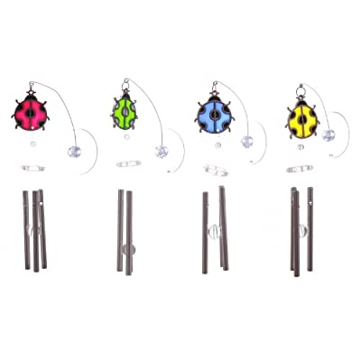 Window Sucker Stained Glass Effect Ladybug Wind Chime
