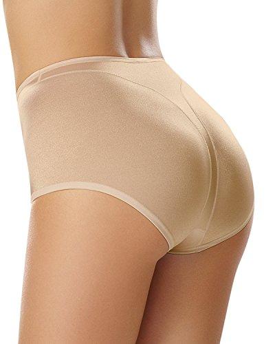 Classic High-cut-höschen (Figurfürmende High-Waist-Panties (2er Pack)- LEONISA Beige M)
