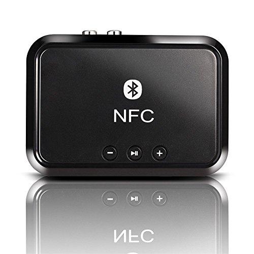 Andven Receptor de Música Bluetooth (Conecte con su dispositivo Bluetooth o NFC, 3.5 mm o 2 RCA, alcance hasta 20 metros, Bluetooth 4.1 y A2DP) Para Sistemas de audio domésticos y de automóviles