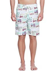 Springfield - Extra-long Surf Swimsuit with Vintage Polaroid print pattern - Herren