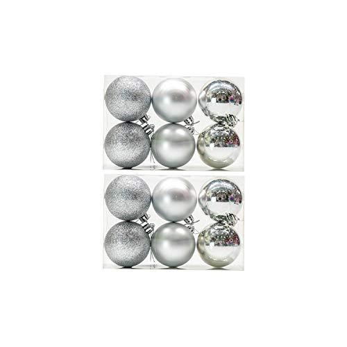 balls 12Pcs / Lot 6cm Weihnachtskugel Hanging Tree Ball-Verzierungen für Weihnachten Partei-Dekor, Silber ()