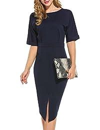 3e870b9c37c41a Parabler Bleistiftkleid Business Kleid Bodycon Figurbetontes Etuikleid  Abendkleid Abschlusskleid Rüschen Festlich Kleid mit Schlitz Vorne Halbe