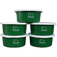 AMKA Futterschale Müslischale Leckschüssel 5er Set 2 Liter mit Deckel Futterschüssel Wasserschüssel für Pferde, Hunde Tiere, grün