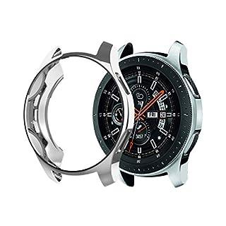 AmaSells Samsung Galaxy Uhr 46mm Intelligent Uhr Smart Watch Mode Ersatz Sport Weiche Ultradünne Silikon TPU-Beschichtung Schutzhülle für Herren Damen (Silber)