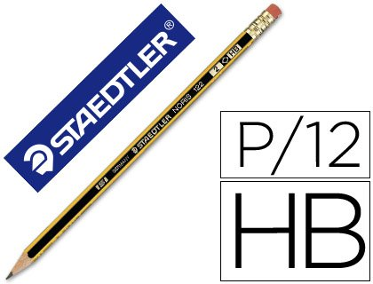Staedtler – Lapices de grafito noris con goma unidad (12 unidades)