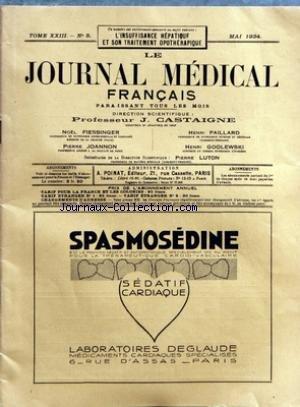 JOURNAL MEDICAL FRANCAIS (LE) [No 5] du 01/05/1934