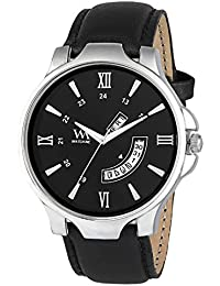WM Black Dial Black Leather Strap Premium Branded Limited Edition Day And Date Collection Watch For Men DDWM-051...