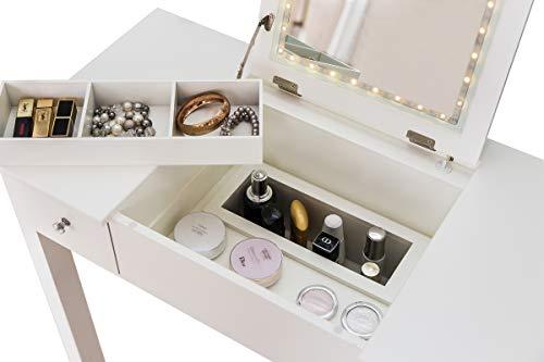 Sgabello Trucco Bianco : Woltu mb ws tavolo da trucco organizer per cosmetici toeletta