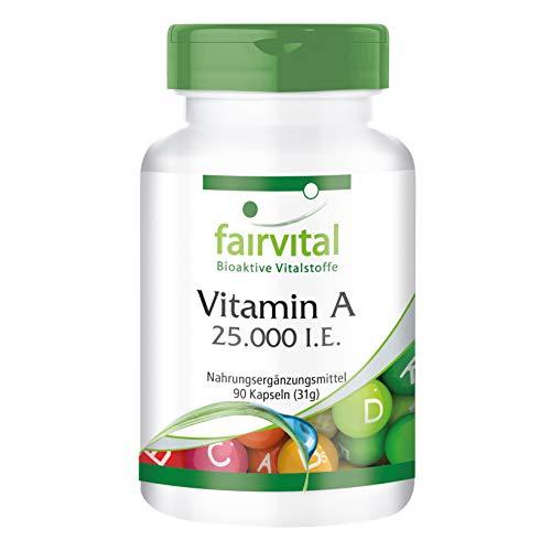 Vitamina A 25000 UI (7500μg) - Altamente dosificado - VEGANO - 90 cápsulas - retinilo - ¡Calidad Alemana garantizada!