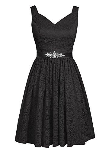 Dresstells, robe courte de demoiselle d'honneur en dentelle col en V Noir