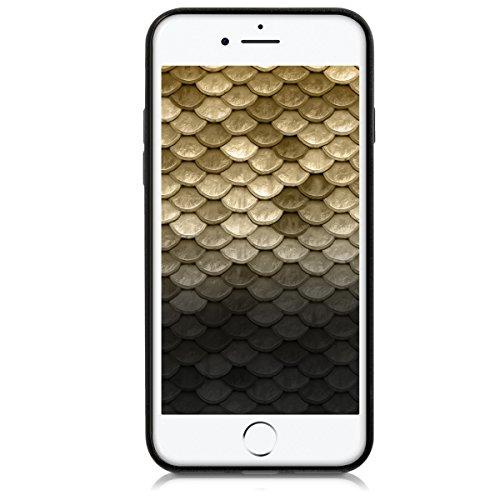 kwmobile Étui en TPU silicone élégant pour Apple iPhone 7 / 8 en petrol mat dégradé de couleurs métalliques anthracite doré
