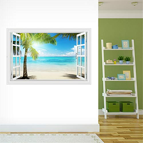 3Dthree-dimensional windowcoconut tree half cover sea shimmerliving room sea view mural bedroom bedside landscape wall stickers