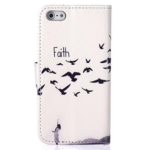 iPhone 55S se étui portefeuille en cuir pour livre, newstars Design léger PU en relief Touch Téléphone Mobile Housses Protège la peau étui en cuir pour iPhone 5/5S/5C/SE avec béquille carte fentes P Seagull Faith