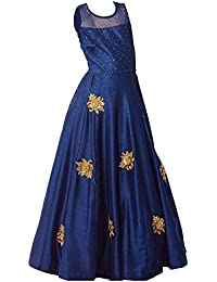 640f3e90d3 Angel Fashion Designer Cute Dark Blue Kids Girls Readymade Gown with Patch  Work