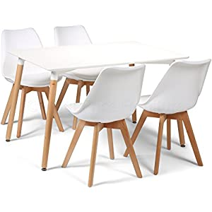 Your Price Furniture.com Toulouse Tulip Eiffel Style Dining Set - White 120x80cms Small Rectangular Table And 4 White Chairs