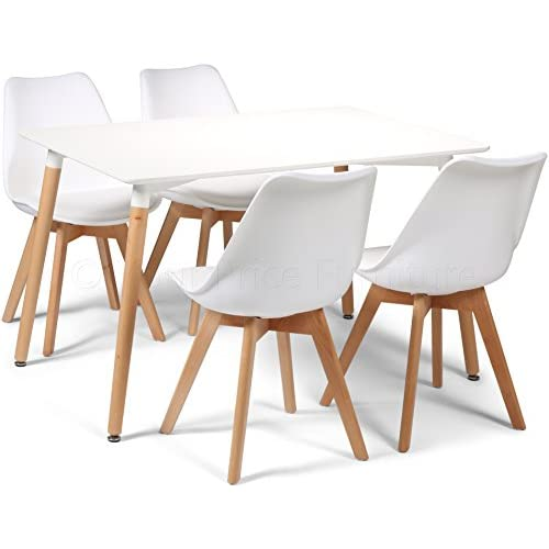 41vY0ZJAyjL. SS500  - Your Price Furniture.com Toulouse Tulip Eiffel Style Dining Set - White 120x80cms Small Rectangular Table And 4 White Chairs