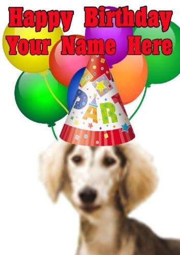 Saluki Hund Party Hat Karte codesa Personalisierte Geburtstags A5Grußkarte Saluki Hat