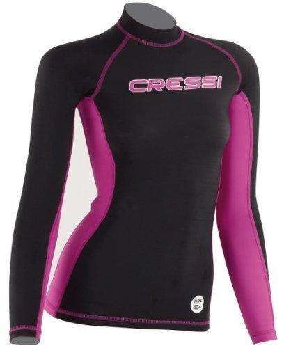 Cressi Damen Rash Guard Kurzarm-Shirt, Schwarz Rosa, Langarm - XL