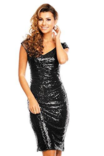 edles Paillettenkleid Glitzer Cocktailkleid Abendkleid mit Pailletten bestickt V-Ausschnitt vorne schwarz L