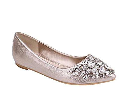 Minetom Mujer Chicas Moda Zapatos Apuntado Zapatos Plano El Bling Crystal Ballet Princesa Zapatos Dorado 38