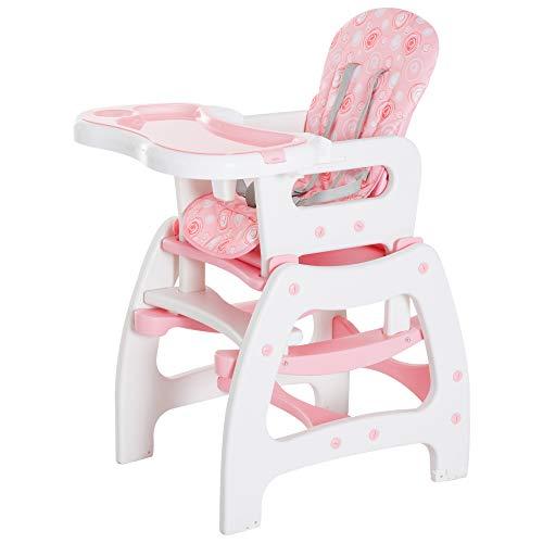 Imagen para 3 en 1 Sillita Trona Mecedora Balancin Bebe Convertible Multifuncional Infantil Color Rosa