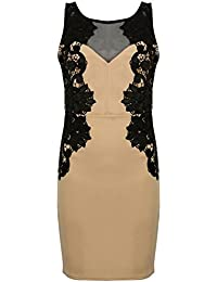 af28a4a8e4991 Ex Lipsy Beige Black Mesh Lace Floral Bodycon Mini Dress Size 6 8 10 12 14