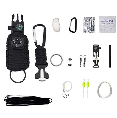 HW Kit De Bracelet De Survie, Bracelet Multifonction, Voyage en Plein Air Camping, Boussole,Thermomètre, Sifflet, Couteau À Corde, Grattoir pour Allumer Le Feu,Black