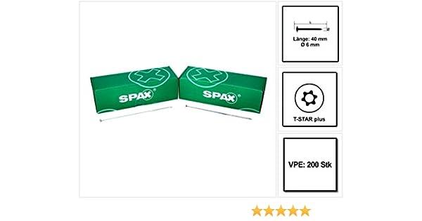 SPAX Holzschraube HI.FORCE T-STAR plus /Ø 6mm WIROX CUT-Spitze 6x200 mm 50 St/ück Tellerkopf