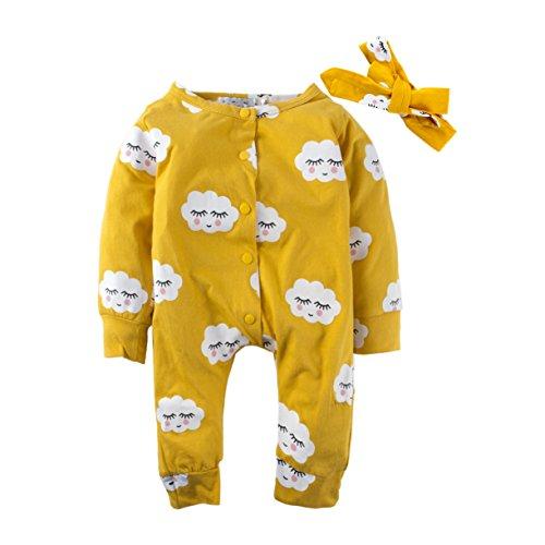 Big Elephant Baby Mädchen 2 Stück Graphic Print Langarm Strampler Pyjama gelb L52 (Langarm-pyjamas Gelb,)